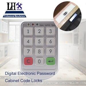 Image 1 - LHX Hardware Password Lock Digital Electronic Password Keypad Number Cabinet Code Locks Intelligent