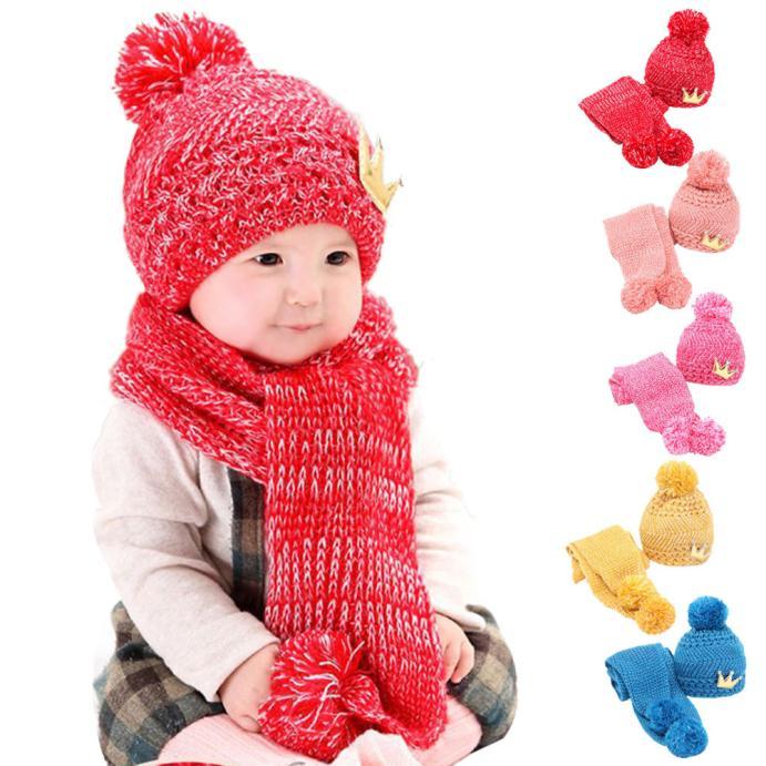 Hot Sale Cute Winter Baby Kids Girls Boys Warm Woolen Coif Hood Scarf Soft Crochet Hat Beanie Warm Newborn Cap Kid lowest price