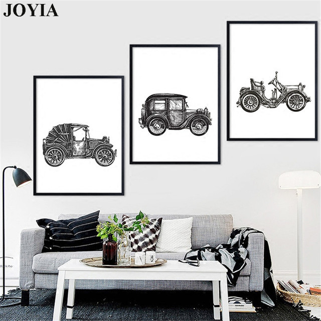 Classical Old Car Motorcycle Painting Canvas Art Prints Poster Abstract  Sketch Wall Pictures For Home Bedroom