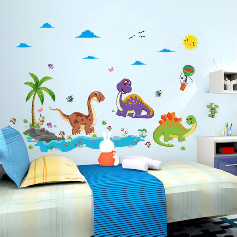 Aliexpress.com : Buy Cute Cartoon Dinosaur Wall Stickers Children Room  Adornment Wall Stickers Kindergarten Metope Adornment SK9125 From Reliable  Dinosaur ... Part 72