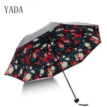 YADA New Creative Flower Gardenia Pattern Folding Rainy Umbrella Anti-UV Rainproof Sun Protection Parasol Umbrellas Female YS016