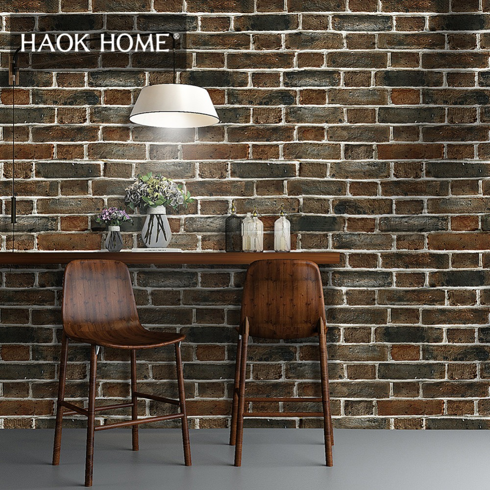 Peel And Stick Wallpaper In Bathroom: Aliexpress.com : Buy HaokHome Vintage Brick Wallpaper For