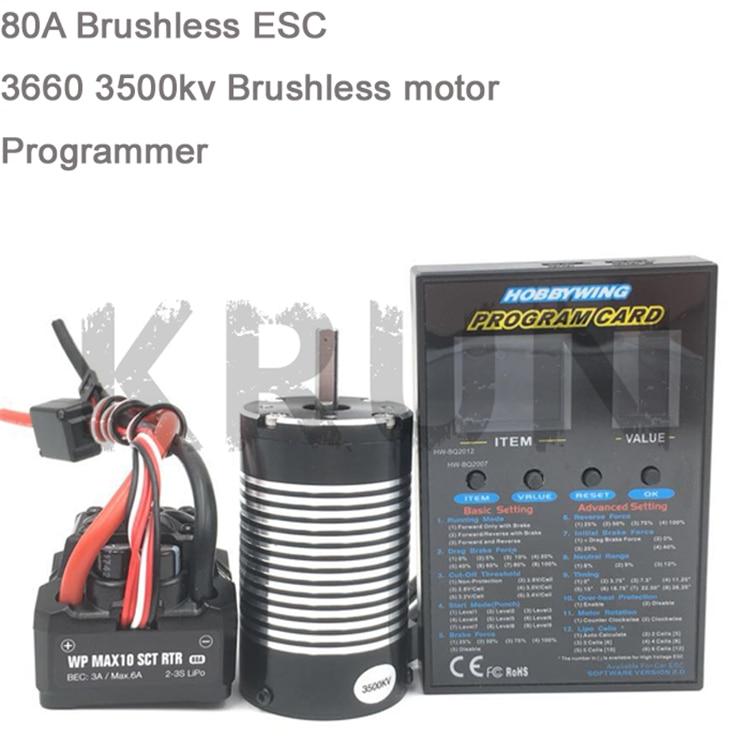 1pcs Original Hobbywing MAX10 SCT RTR 80A Brushless ESC 3660 3500KV 3800KV Sensorless Motor Set LED