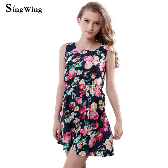 0678033b68350 US $3.3 |Singwing Women Dresses Beautiful Femininas Vestidos Fashion Flower  Printed Casual Vest Chiffon Dress Women Summer Dress-in Dresses from ...