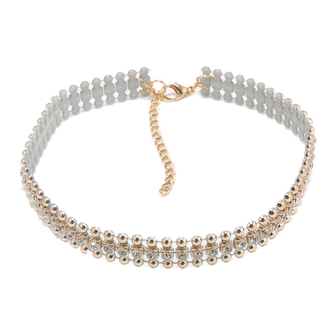 Women Choker Collar Gold Necklace Rhinestone Crystal Beads Pendant Chain font b Jewelry b font