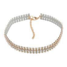 Women Choker Collar Gold Necklace Rhinestone Crystal Beads Pendant Chain Jewelry