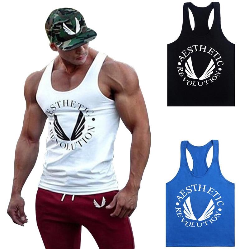 2018 Fashion Men Bodybuilding Tank Tops Gyms Muscle Stringer Singlets Fittnes Vest Shirt Musclewear Y BACK Racer