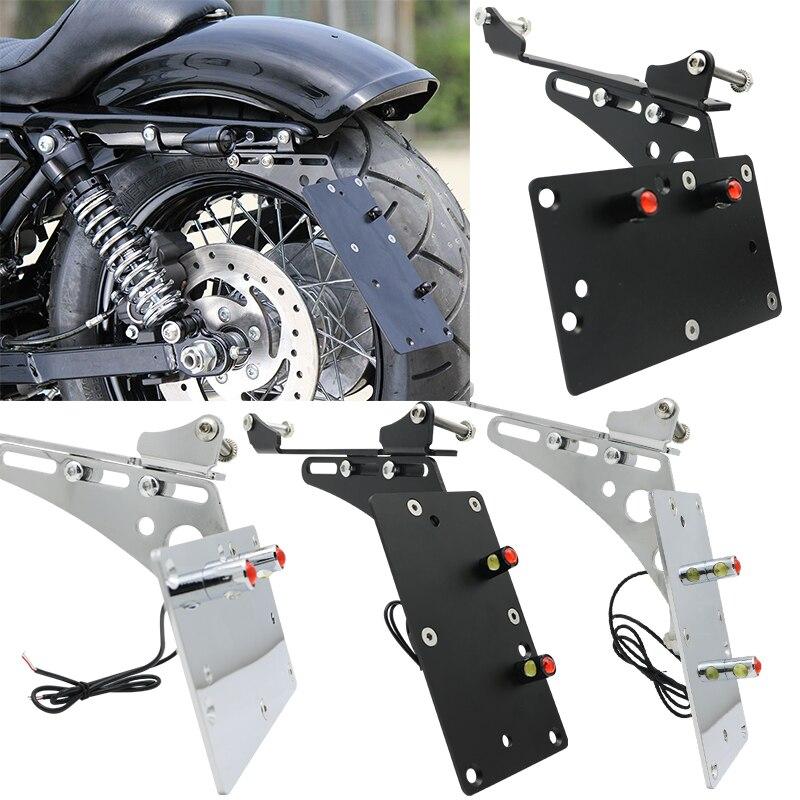 Черный мотоциклетный складной светильник с боковым креплением для номерного знака для Harley Sportster xL 883 1200 2004 2016 Sporster модели с - 4