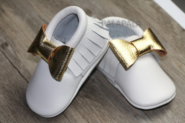 New designs white with gold bow Genuine Leather Baby Moccasins fringe cowhide Baby dress Shoes girls  First Walker newborn shoes