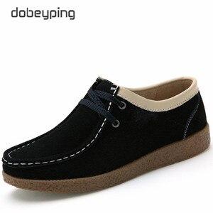 Image 2 - Dobeyping 2018 春秋の靴の牛スエード革の女性の靴レースアップ女性のローファーモカシンフラット女性スニーカー