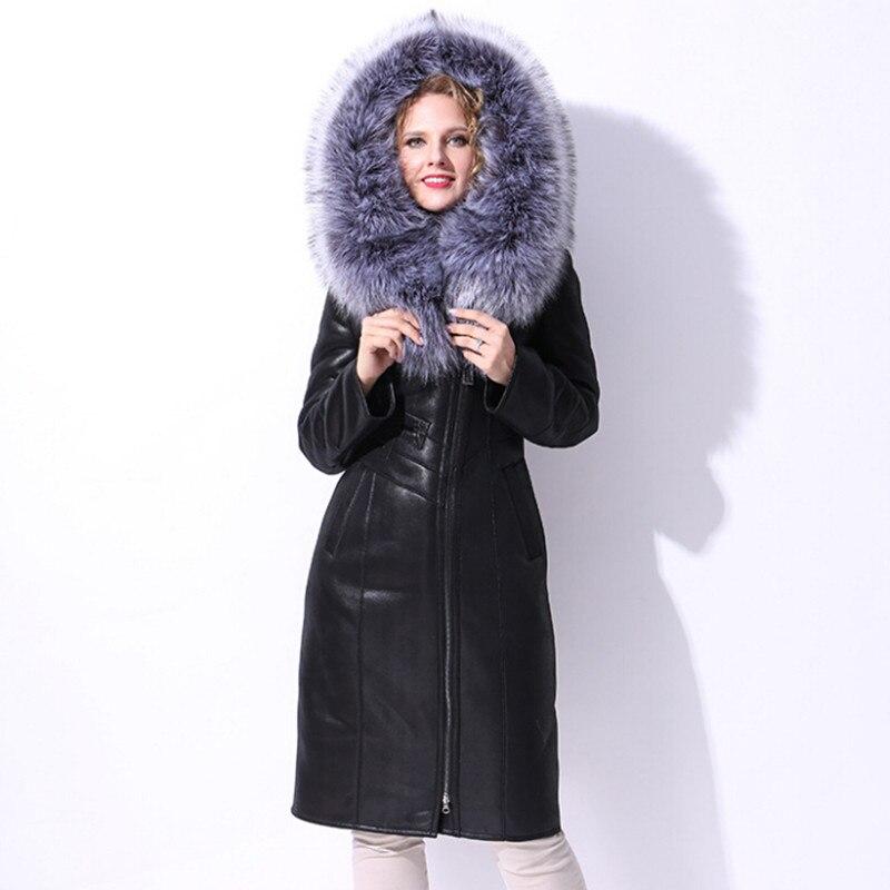 Thick Real Fur Long Coat Woman Parka Winter Warm Fox Fur Hooded Slim Genuine Leather Lamb Coats Jackets Oversize 4XL 5XL 6XL 7XL