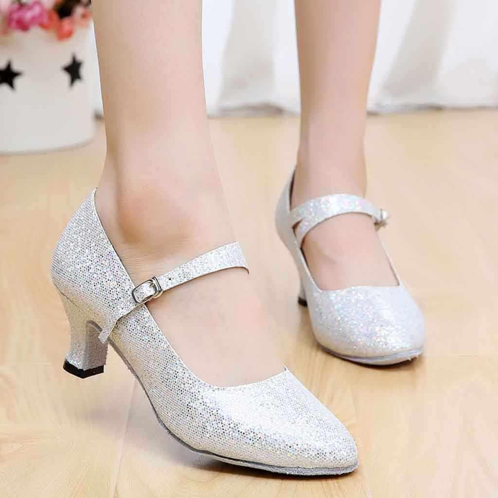 אישה נעליים עקב בלוק העקב נעליים אדום כסף נצנצים גבירותיי מסיבת חתונת שמלת נעלי יוקרה נעלי מעצבי נשים # XTN