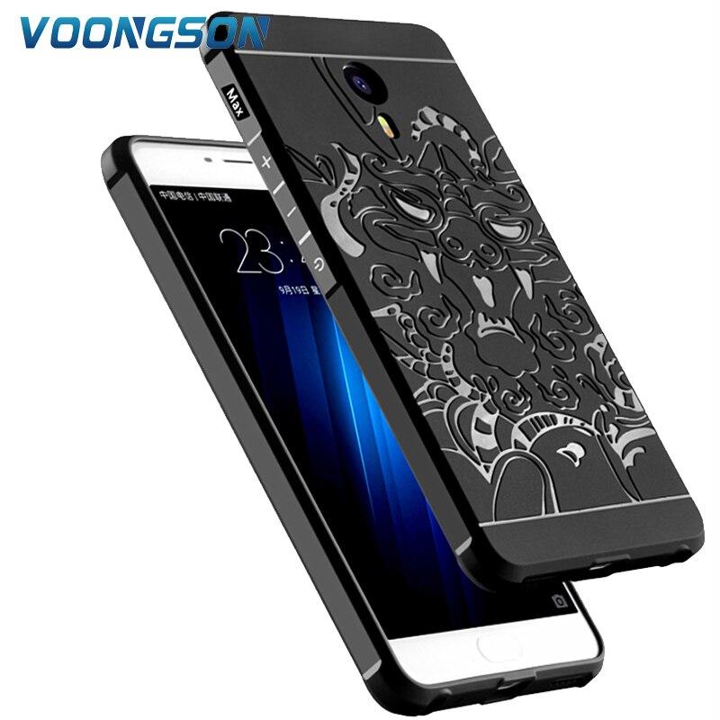 VOONGSON For Meizu M3 Max Silicone Case Luxury 3D Carved Dragon Orginal Matte Soft Anti- ...