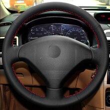 Шить-на подлинных кожаное рулевое колесо крышка Автомобильные аксессуары Для Peugeot 206 207 Citroen C2 автомобиль для укладки интерьер автомобилей