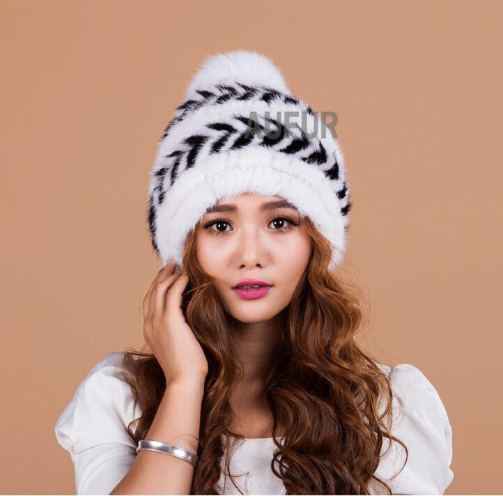 Knitting Real Mink Fur Hats Women Caps Natural Fox Fur Balls Earmuffs Knitted Beanies 100 Natural