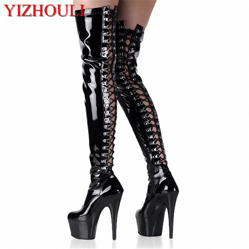 6 Inch over the knee thigh high boots cross gladiator boots for women platform high heel shoes sexy clubbing pole dancing boots sexy clubbing pole dancing knee high boots 6 inch high heel shoes winter fashion sexy warm long 15cm zip platform women boots