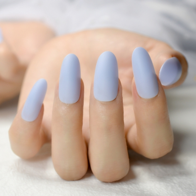 24pcs Sky Blue Acrylic Nail Art Tips Easy DIY Long Oval Artificial ...