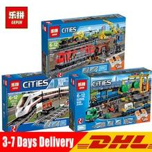 В наличии DHL LePin 02010 02009 02008 город серии Legoinglys 60098 60052 60051 дистанционное управление поезд строительные блоки Кирпич игрушка
