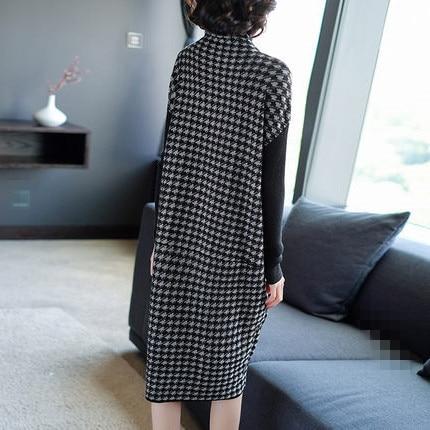 Plus Size Women Black Houndstooth Knitting Stretch Sweater Dress Winter Female Dresses Vestido Clothing Robes 2