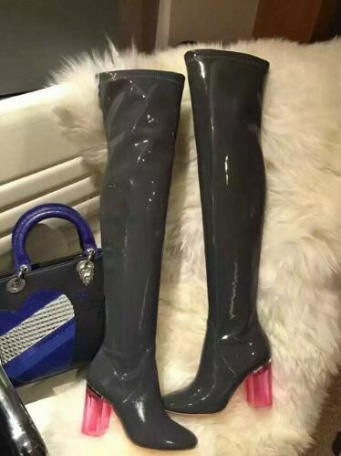 Abesire 2019 el nuevo diseño mujer moda cuadrado transparente tacones altos sobre la rodilla botas mujer punta redonda zapatos con cremallera - 6