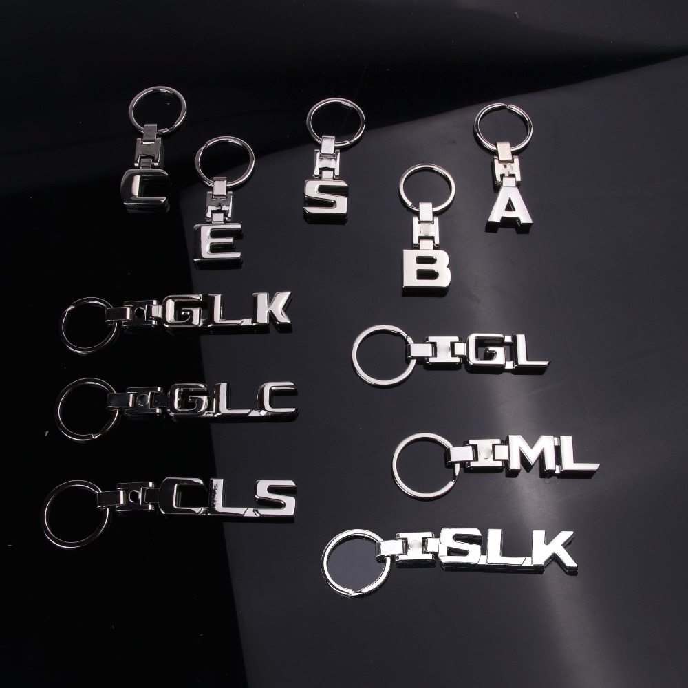 Key Rings New For Mercedes Benz A B C E S R GL Keychains SLK GLK CLS GLC ML GLE 3D Car Keychain Metal Keyring Key Chain Rings