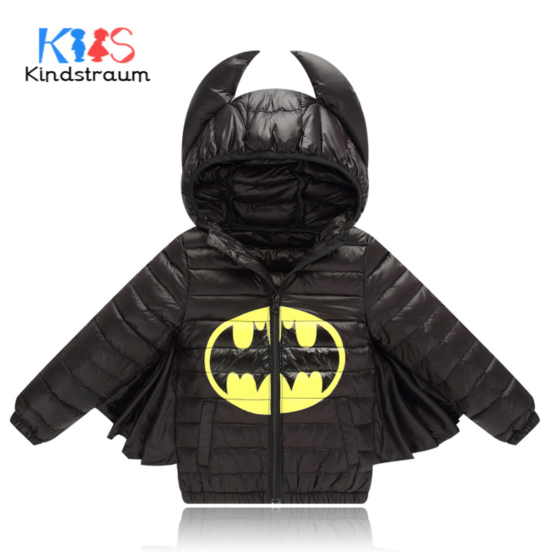 Kindstraum 2017 New Kids Winter Down Jacket Batman for Boys Girls Character Duck Down Casual Hooded Coat Children Outwear, MC807 kindstraum 2017 fashion kids winter jacket cotton new boys girls warm hooded coat children casual dinosaur outwear printed mc802