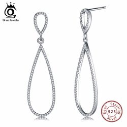 ORSA JEWELS Luxury Water Drop Shape 925 Sterling Silver Earrings Stud Solid Silver Earrings With 172pcs AAA Austrian CZ  SE35