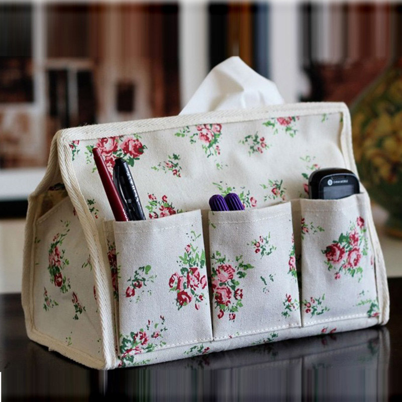 Floral multi - functional storage box Tissue box cotton and linen paper towels pumping home coffee shop cloth storage