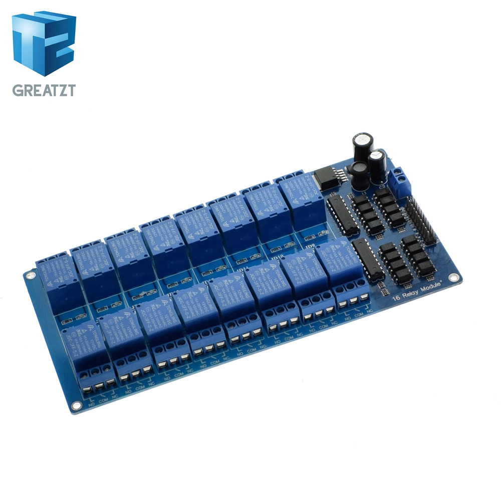 1pcs 5v 12v 16 Channel Relay Module For Arduino Arm Pic Avr Dsp Electronic Plate Belt Optocoupler Isolation In Integrated Circuits From