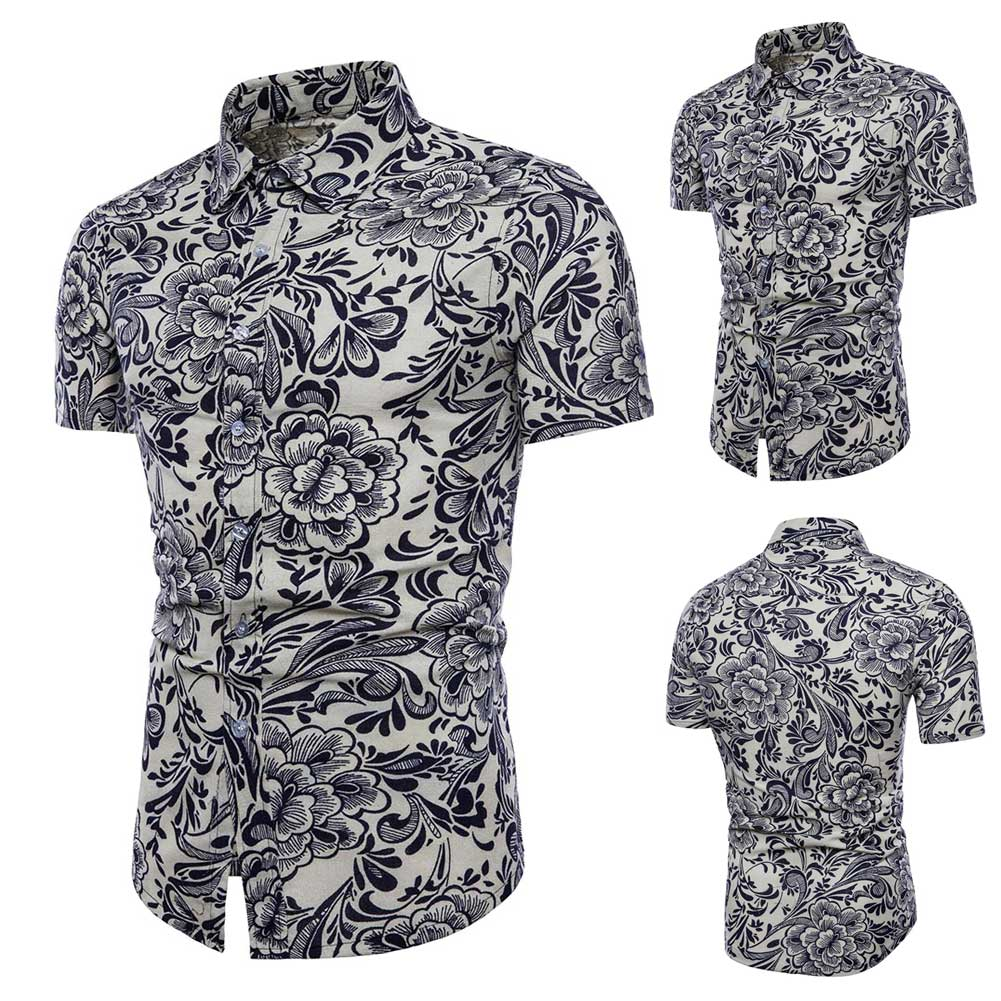 Summer Men Floral Shirt Short Sleeve Flowers Printed Stand Collar Casual Shirts Plus Size M-5XL -MX8
