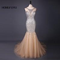 Luxury Mermaid Evening Dress Vestido De Festa Beading Scoop Sleeveless Long Evening Dresses 2017 Floor Length
