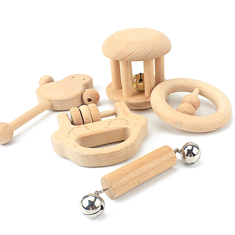 Baby Infant Early Education Wooden Rattle Handle Bell Development Toy C