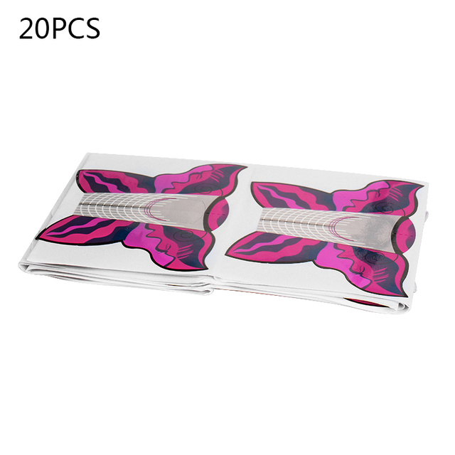 100/20PCS Professional French Nail Form Tips Nail Art Form Acrylic Tip Gel Nails Sticker Extension Curl Form Nail Polish Guid