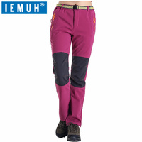 IEMUH Brand M 3XL Women Softshell Pants Thermal Waterproof Pants Outdoor Sports Camping Hiking Ski Pants