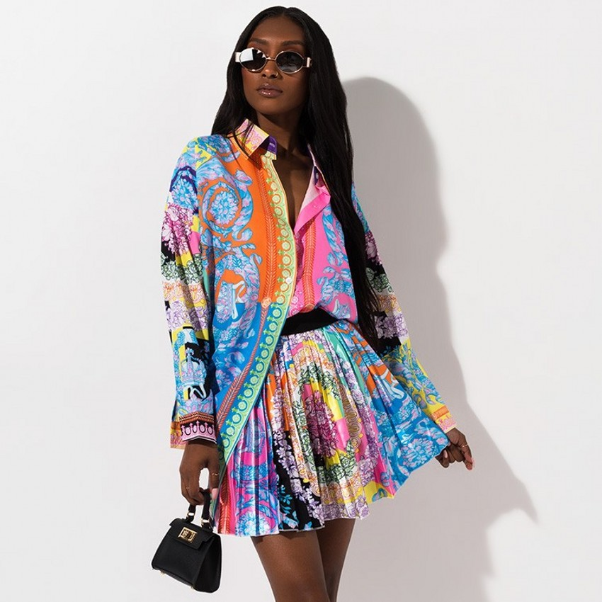 2019 New African Print Elastic Bazin Baggy Skirts Rock Style Dashiki SLeeve Famous Suit For Lady/women Shirt And Skirts 2pcs/se(China)
