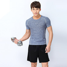 Adsmoney short sleeve Men's sport running suit elastic fitness shirt + shorts, slim fit execrise training clothing sport wear