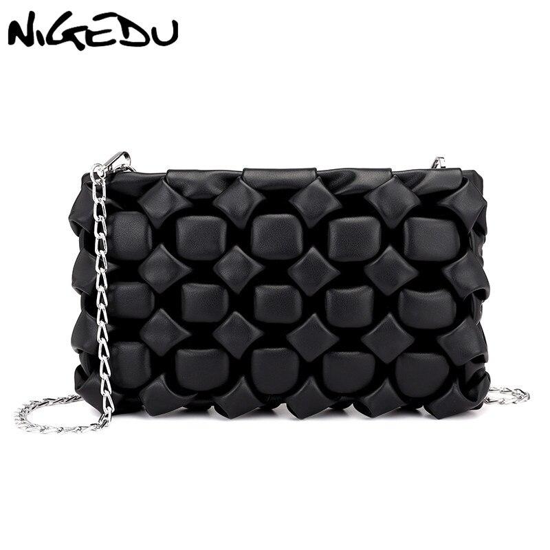 NIGEDU Crossbody Bags For Women Clutch Bag Diamond Designer Female Messenger Bag Chain Ladies Clutches Purse Bolsa Feminina Bao