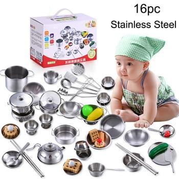 16 Pieces Children Mini Kitchen Cookware Pot Pan Kids Pretend Cook Play Toy Simulation Kitchen Utensils Toys Set Children gift