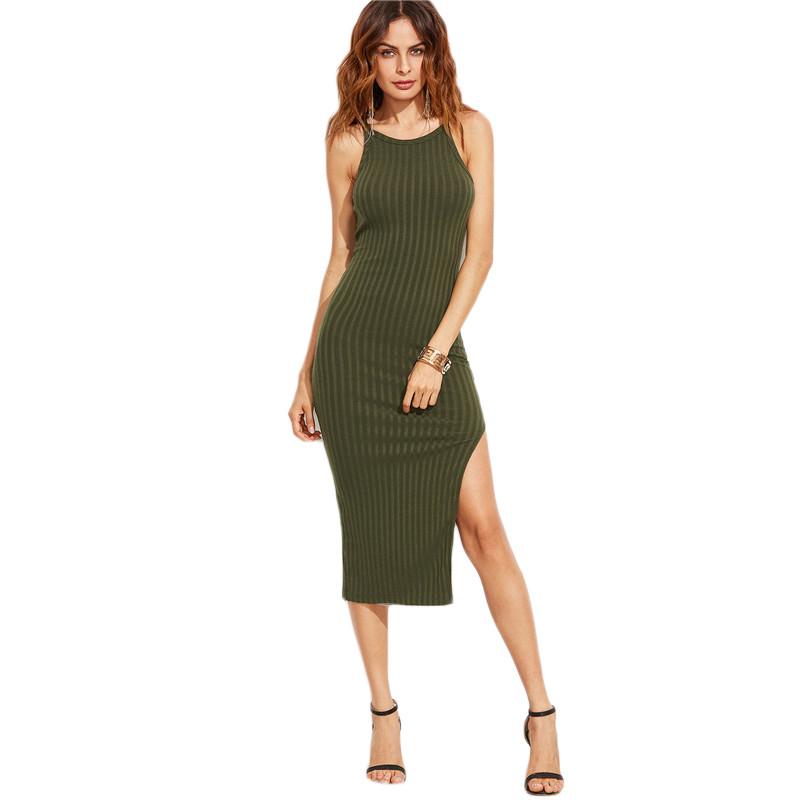 COLROVIE Women Sexy Bodycon Cami Dress Winter Autumn 2017 Women Fall Fashion New Designer Side Slit Ribbed Midi Dress 10