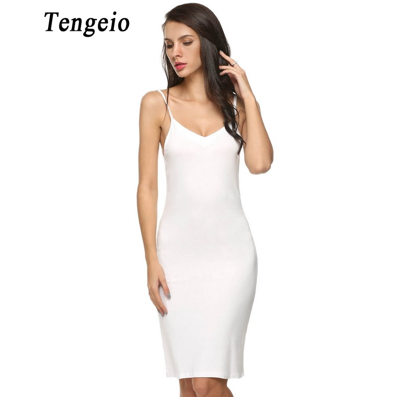 Tengeio 2018 Women Sexy Strap Full Slips dress Long Underdress Sleeveless Plus Size Bodycon Bottoming Straight Petticoat Femme