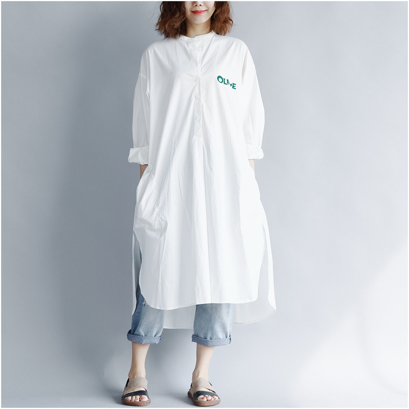 507247f74dd Stand V Neck Long Shirt Blouse Women Button Down Side Slits Plus Size White  Cotton Top Shirt Womans Long Sleeve Femme-in Blouses   Shirts from Women s  ...