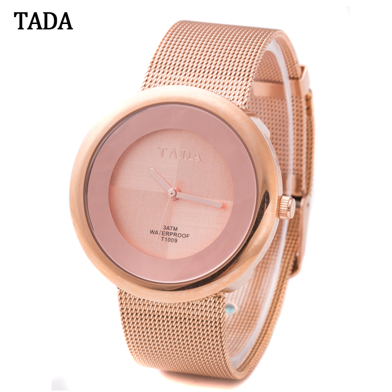 d5810ed2cdc Novo modelo Da Marca TADA Relos venda quente Relógios das mulheres subiu  ouro à prova d  água 3ATM Japão Faixa de relógio de Aço de ouro de Malha  Senhora ...