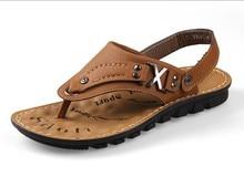 Мужчины натуральная кожа сандалии лето покупки фестиваль свободного покроя пляж удобные сандалии тапочки для мужчины, Размер 38 — 43 ( RC-33661 )