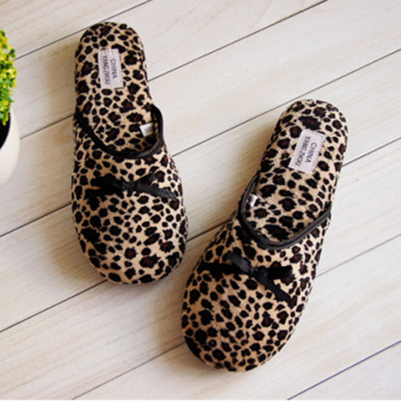 Mujer Shoes Bow House Slippers Women Winter Plush Interior Cotton Ladies Floor Leopard Indoor Pantuflas Pantofole Donna Chinelo soft house coral plush slippers shoes white