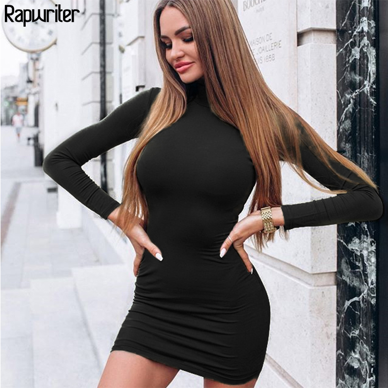 Rapwriter Mini Dress Turtleneck Vestidos Long-Sleeve Skinny Slim Sexy Winter Solid-Color