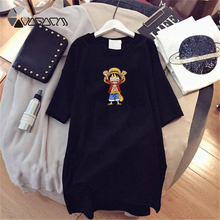 Summer Women Dress Cute Luffy One Piece Party Black Cartoon Dresses Casual Loose Mini Club White T-shirt Dress Plus Size M-4XL fashionable two piece cotton vest style dress black white size m