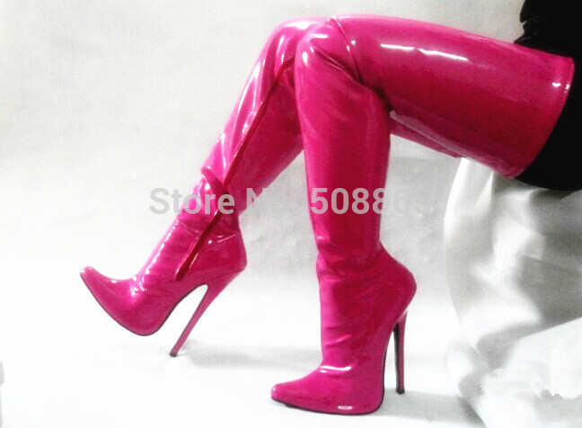 206c9a134aa Summer Hot pink PU leather 18cm high heels pointed toe over the knee ...
