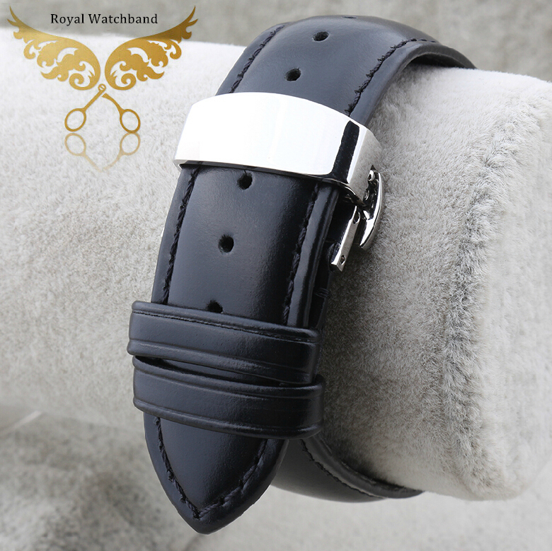 New High Quality Black Smooth Soft Mens Genuine Leather Watch BANDS Straps Bracelets Free Shipping popular black skull sports watch silicone bands touch screen led watch women mens free shipping gitt for lovers couple