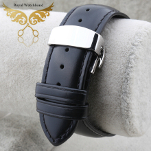 New High Quality Black Smooth Soft Mens Genuine Leather Watch BANDS Straps Bracelets Free Shipping