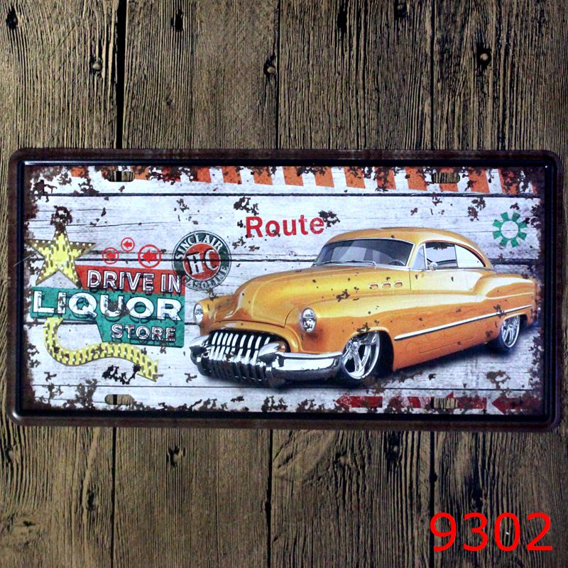 Car bar decorative metal plates vintage metal tin sign bar for Craft paint for metal